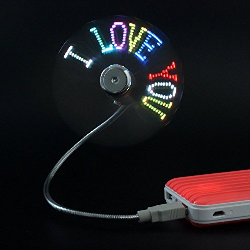 Nuovo arrivo 'led usb fan Confession artifact regalo! summer necessario! usb led programma fai-da-te, motivo: messaggio per regalo, ventola di raffreddamento e collo flessibile)