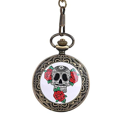 Reloj de bolsillo Cadena gruesa grande Cráneo clásico Tres ilustraciones de arte de bolsillo de bronce de bronce 骷髅 骷表