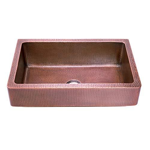 Zuhne bari 33 inch copper farm house short straight apron single bowl retrofit kitchen sink, antique natural