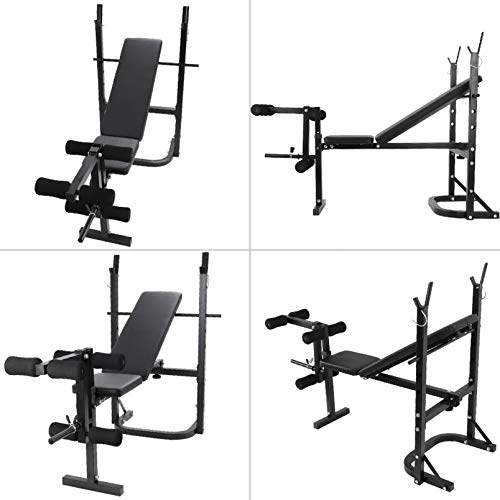 Adjustable Olympic Weight Bench Power Tower Workout Dip Station with Preacher Curl Leg Trainer Multi-Functional Weight Bench Set for Indoor Gym Home Fitness Exercise (US Stock)