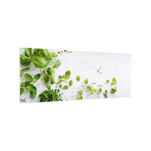 Bilderwelten Glas Küchenrückwand - Kräuter auf Holz Shabby   Spritzschutz   inkl. Magnethalterung   Küchenspiegel   HxB: 50cm x 125cm