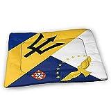 YAGEAD Barbade Açores Drapeau Chien Tapis de Lit avec Étanche Antidérapant Bas, Lavable Chien Caisse Tapis pour Dormir Animaux Pads