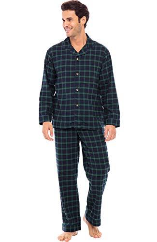 Alexander Del Rossa Men's Lightweight Flannel Pajamas, Long Cotton Pj Set, Medium Blue and Green Plaid (A0544P23MD)