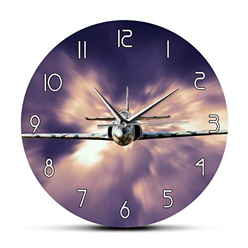 hufeng Reloj de Pared Military Jet Fighter Reloj de Pared Moderno Avión Volando sobre Las Nubes Arte de Pared Aviación Decorativo Avión Reloj de Pared silencioso