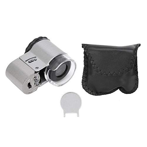 REOUG 50X Microscope Magnifier Mini Portable with LED Currency Detecting Light for Jewelry Appraisal