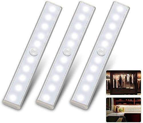 LED Closet Light 3 Pack Motion Sensor Light Indoor Under Kitchen Cabinet Lighting Battery Operated Wireless Undercounter Lights Bedroom Night Light Homelife LED Stick On Light for Shelf Cupboard Stair