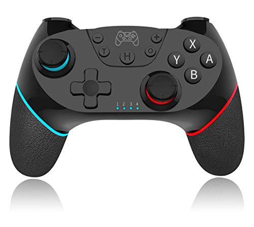 QISI Nintendo Switch Proコントローラー TURBO連射調整機能 HD振動調整機能 6軸ジャイロセンサー搭載 スイッチコントローラー (黒)