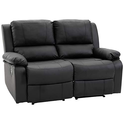 HOMCOM Doppelsofa Relaxliege Relaxsessel verstellbare Rückenlehnen Holzfüße PU Schwarz 95 x 141,5 x 94,5 cm