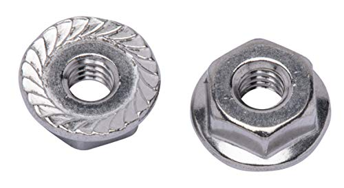 #12-24 Stainless Serrated Hex Flange Nut, (25 Pack), 304 (18-8) Stainless Steel Nuts, by Bolt Dropper