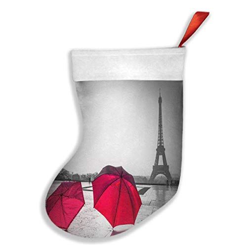 Fashion - Calze da appendere alla calza della Befana, classica rétro Parigi Torre Eiffel con ombrello rosso, decorazione natalizia da appendere, con passante da appendere