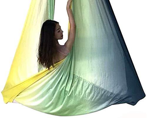 Set de Hamaca de Yoga aérea, 2.8x5m Elástico Aéreo de Yoga Hamaca Swing Antigravity Yoga Flying Hamgock Swing para Pilates Body White, Fitness Inversión Ejercicio