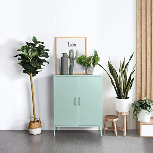 Ihouse SnapIt Aufbewahrungsschrank aus Metall, Doppeltür mit 2 verstellbaren Einlegeböden, Jumbo-Aufbewahrungsschrank für Wohnzimmer, Schlafzimmer und Büro (grün)