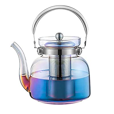 E-liu 50 Ounces Glass Teapot Kettle with Lid, Removable Stainless Steel Infuser and Handle, Stovetop Safe Tea Maker for Blooming and Loose Leaf Tea?Iridescent?