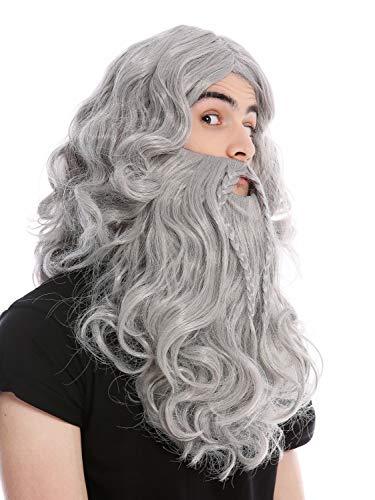 WIG ME UP ® - 90760-A+B-ZA68E Peluca y Barba Trenzado Largo Vikingo Viejo Salvaje Hombre del Norte bárbaro Enano Gris