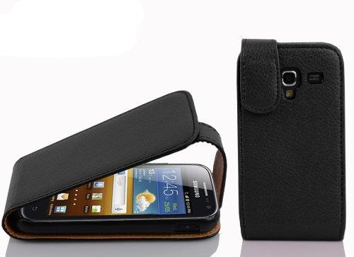 Cadorabo Hülle für Samsung Galaxy ACE 2 - Hülle in Oxid SCHWARZ – Handyhülle aus Strukturiertem Kunstleder im Flip Design - Hülle Cover Schutzhülle Etui Tasche