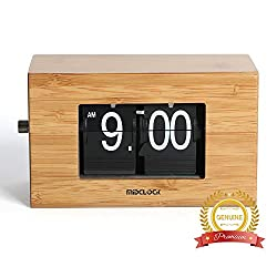 MIDCLOCK Bamboo Flip Clock, Home Décor Desk Clock, Modern Mini Clock, Retro Auto Flip Down Clock, Battery Powered, Digital Clocks for Living Room Décor (Natural Bamboo)