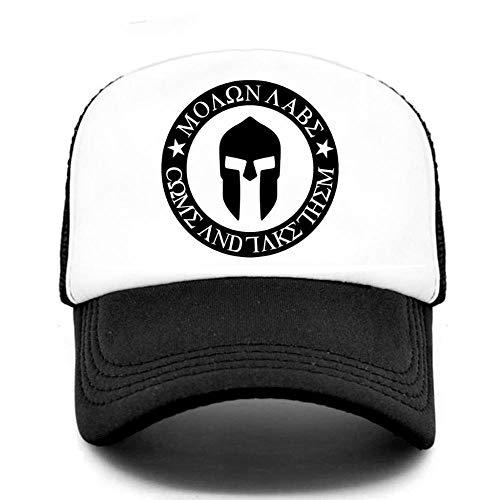 Kuletieas Cap Trucker Baseballmütze Sparta Coole Mütze Spartacus Sommermütze Hip Hop Mesh Cooler Hut für Männer Frauen Schwarz Weiß