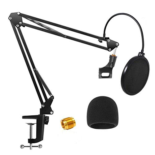 Microphone Stand, URMI Heavy Duty Table Microphone Arm Stand with Dual Layered Mic Pop Filter Suspension Boom Scissor Arm Stands for Recordings Broadcasting Streaming Singing for Blue Yeti Snowball