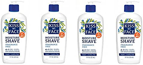 Kiss My Face Moisture Shave Shaving Cream, Olive and Aloe Fragrance Free Shaving Soap for Sensitive Skin, 11 oz Pumps (Pack of 4)