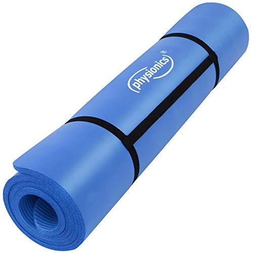 Physionics Pilates Gymnastikmatte Fitnessmatte Bodenmatte Yogamatte in der Größe 180 x 60 cm oder 190 x 100 cm (0,5/1,0/1,5 cm Dicke) mit Farbwahl (Blau, 190 x 100 x 1,5 cm)