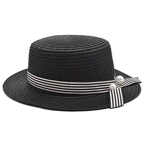 kyprx Herren Baseball Caps Günstige Herren Baseball Damen Mädchen Strand Hut Weiblich Hut Lady Classic Bowknot Straw Flat Sun Hatblack Adult