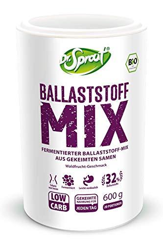 BALLASTSTOFF-MIX 600g • 100% ROH + gekeimt + fermentiert • BIO Shake zur Darmgesundheit • ROHKOST max 40° • veganes Pulver mit Bifidokulturen zum Aufbau der Darmflora • Darmkur Pulver, Probiotikum