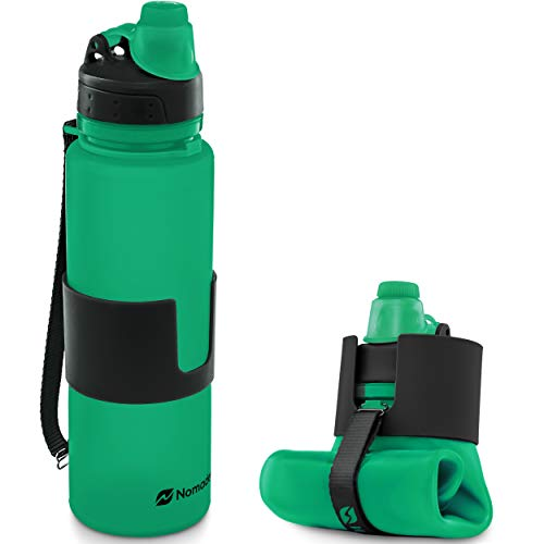 Nomader BPA Free Collapsible Sports Water Bottle - Foldable with Reusable Leak Proof Twist Cap for Gym Travel Hiking Camping and Outdoors - 22 oz Green
