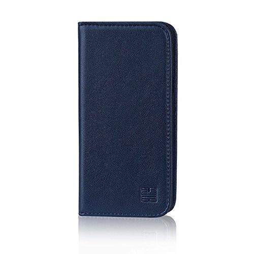 32nd Klassische Series - Lederhülle Hülle Cover für LG Q6, Echtleder Hülle Entwurf gemacht Mit Kartensteckplatz, Magnetisch & Standfuß - Marineblau