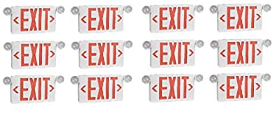 Ciata Ultra Bright LED Decorative Red Exit Sign & Emergency Light Combo with Battery Backup, 6-inch Red Letters (Pack of 12)