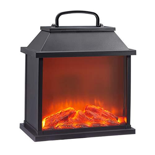 73330 LED Kamin Laterne mit Flammenflackern Dekolaterne Stimmungslicht Tischkamin