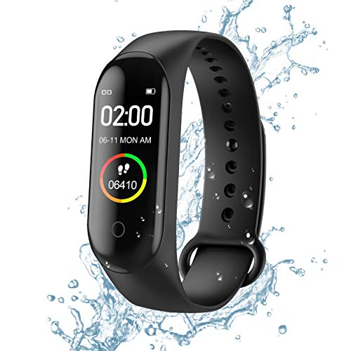 Fitness Trackers, Activity Trackers,Health Exercise Watch with Heart Rate and Sleep Monitor, Smart Band Calorie Counter, Step Counter, Pedometer Walking for Men Women Kids,IP67 Waterproof,Black