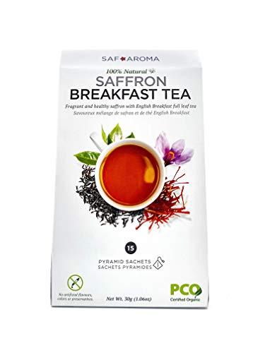 Safaroma Saffron Breakfast Tea - Freshly Harvested Containing Premium Red Saffron Threads - Organic Black Tea Eco-Conscious Sachets