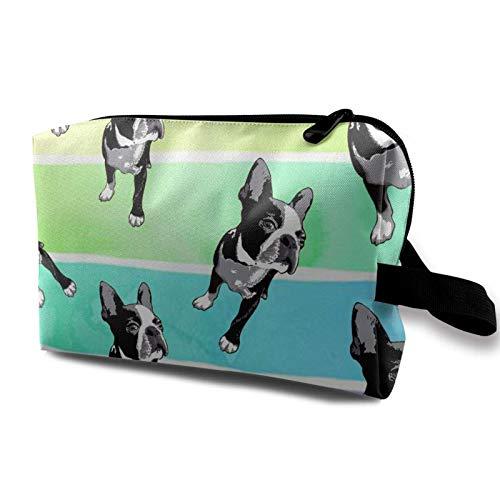 XCNGG Bolsas de maquillaje para niñas Bolsa de almacenamiento para artistas Bolsas de aseo Bolsa de cosméticos multifunción Boston Terriers