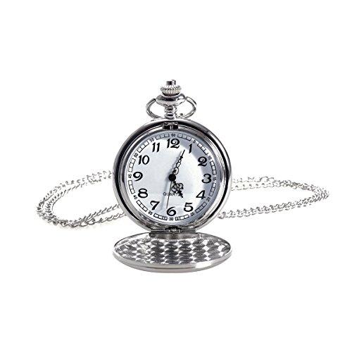 UEETEK Tasca d'epoca, Orologio Unisex uomini donne orologio al quarzo con collana catena orologio da tasca meccanico per regalo Silver
