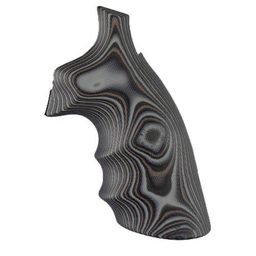 Hogue 19167 S&W K/L Frame Round Butt Grips, Convert, Finger Grooves, G10 G-Mascus Black/Gray