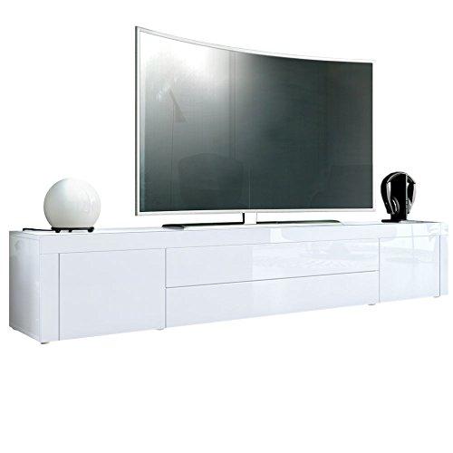 Vladon TV Board Lowboard La Paz, Korpus in Weiß Hochglanz/Front in Weiß Hochglanz mit Rahmen in Weiß Hochglanz