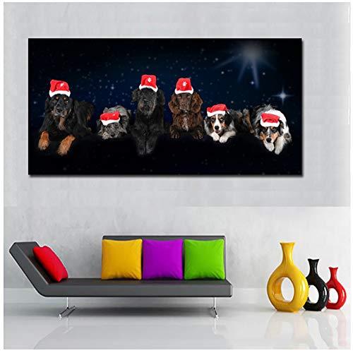 Kunstdruck auf Leinwand, Motiv: Hunde in Weihnachtsmütze, Wandkunst, Bilder für Wohnzimmer, Heimdekoration, modulare Bilder, 60 x 120 cm, ohne Rahmen