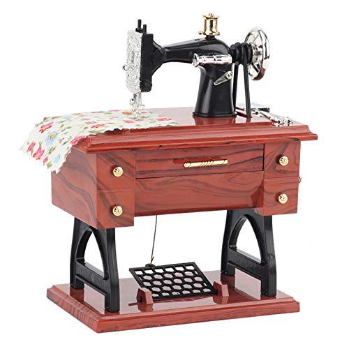 Lanceasy Mini máquina de coser con forma de máquina de coser, reloj de música vintage, reloj decorativo para mamá y niños, tira del cajón para jugar música
