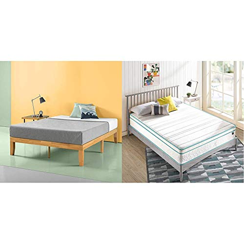 Zinus Moiz 14 Inch Wood Platform Bed with ZINUS 12 Inch Memory Foam Spring Hybrid Mattress