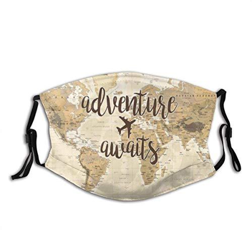 Mundschutz Abenteuer erwartet Reise Vintage Weltkarte um Welt Flugzeug Unisex waschbar und wiederverwendbar Gesicht Schal für den Außenbereich