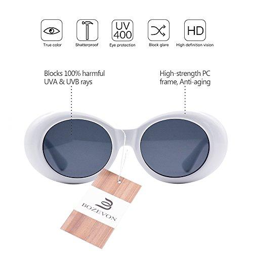 UV400 Sunglasses Goggles For Women /& Men BOZEVON Retro Oval Sunglasses