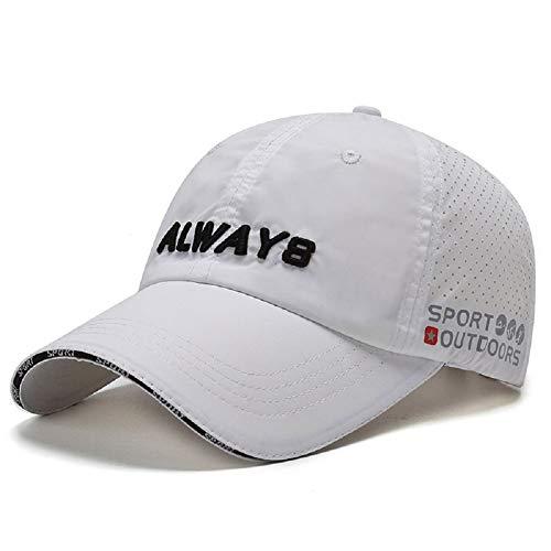Cappello Sportivo ad Asciugatura Rapida Cappellino da Sole Leggero con Protezione UV da Esterno per Uomo Donna Golf Ciclismo Pesca da Corsa con Cappello da papà Regolabile (A-Bianca)