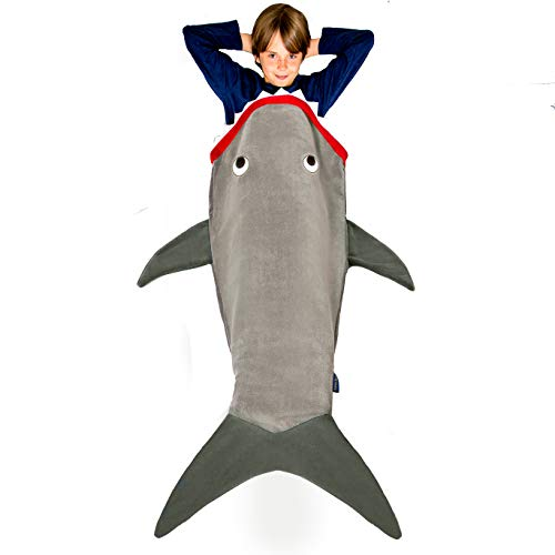 Blankie Tails | Shark Blanket, New Shark Tail Double Sided Super Soft and Cozy Minky Fleece Blanket, Machine Washable Wearable Blanket (56'' H x 27'' (Kids Ages 5 - 12), Glow in The Dark - Gray)