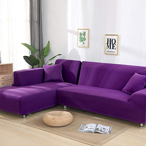 Fundas para Sofa Chaise Longue, Impermeable Universal Elástica Lavable A Máquina,para Sala De Estar Sofá Protector, Cubre Sofas En Forma De L Orden 2 Piezas (Purple,4-Seater 235-300cm)