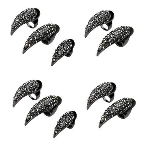 Kapian 10st Falsche Nägel Krallen Pfote Talon Finger Ringe Cosplay Dekoration Kristall Vollfinger...