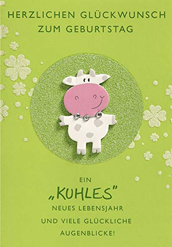 Geburtstagskarte Lifestyle - Kuh - 11,6 x 16,6 cm