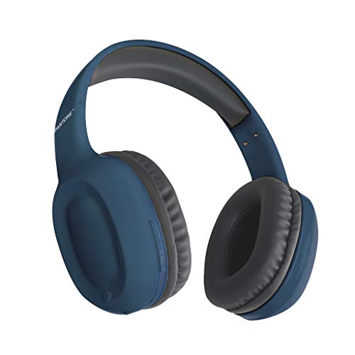 Limited Edition Bluetooth Wireless HiFi Headphones by Blue Beat Digital, Lightweight Over-Ear Stereo Headset with Noise Reduction, Ultra-Comfort Soft Memory Earpads, 8 Hr Battery Life [Navy Blue]