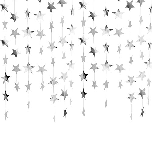 Whaline 52 Feet Reflective Star Paper Garland Sparkling Star Bunting Banner for Holiday Decorations Wedding Birthday Party , 2.75 inches (Silver)
