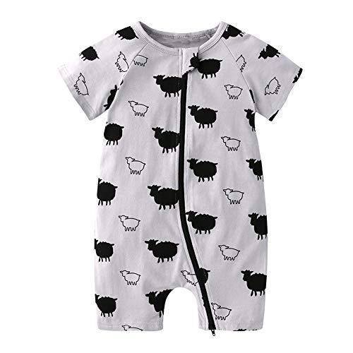 Pijama para niña, pijama de algodón para verano, para bebé, con pies, 70-100 cm oveja 100 cm