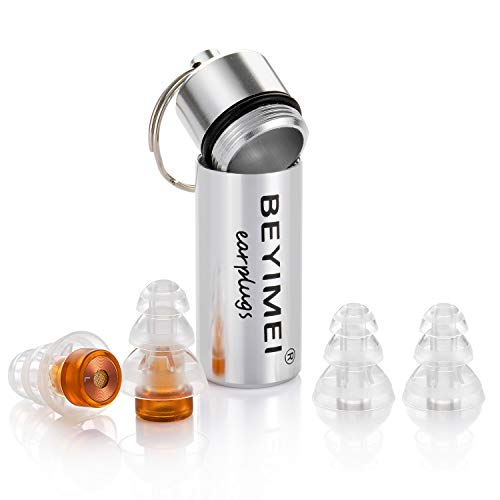 BEYIMEI WomenPro Gehörschutz Ohrstöpsel-unauffällige Gehörschutz Ohrstöpsel-für Frauen, besonders leicht zu tragen und leise, wiederverwendbar und mit Alubehälter,Braun/transparent